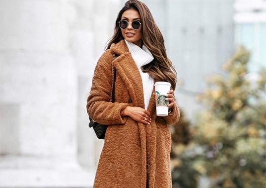 Καφέ γυναικείο παλτό από τη συλλογή της Amelies