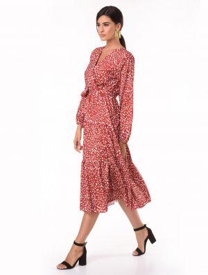 Φθινοπωρινό γυναικείο φόρεμα σε μπορντώ απόχρωση από τη συλλογή της Amelies