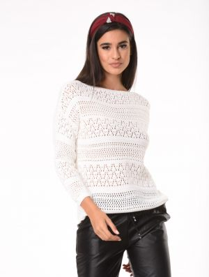 Λευκή πλεκτή μπλούζα από τη συλλογή της Amelies