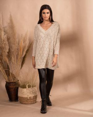 Μπεζ γυναικείο πουλόβερ με V από τη συλλογή της Amelies