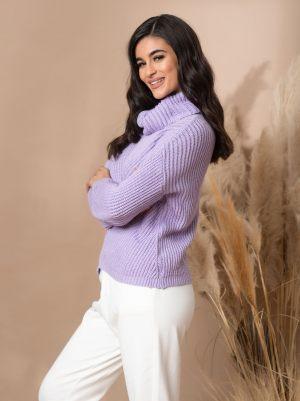 Λιλά πλεκτό γυναικείο πουλόβερ από τη συλλογή της Amelies