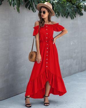 Κόκκινο μάξι φόρεμα με έξω τους ώμους από την κολεξιόν της Αmelies