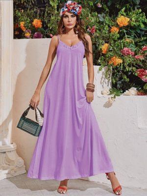 Λιλά μάξι φόρεμα με βολάν από την κολεξιόν της Amelies