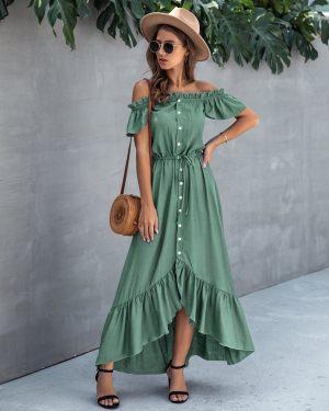 Χακί μάξι φόρεμα με έξω τους ώμους από τη συλλογή της Amelies