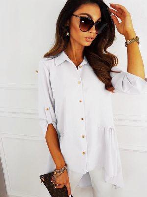 Λευκό ασύμμετρο γυναικείο πουκάμισο από την κολεξιόν της Amelies