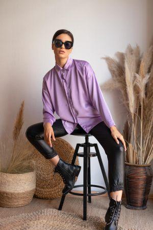 Λιλά γυναικείο φινοπωρινό πουκάμισο από τη συλλογή της Amelies