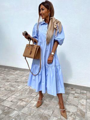 Γαλάζιο γυναικείο maxi φόρεμα από τη συλλογή της Amelies