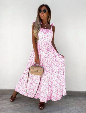 Φουξ Φλοράλ Καλοκαιρινό Φόρεμα Με Βολάν