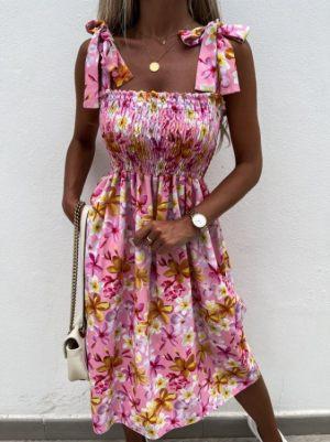 Ροζ Καλοκαιρινό Midi Φόρεμα