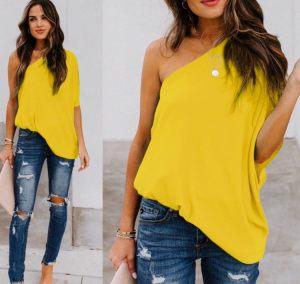Κίτρινο μπλουζάκι με έναν ώμο από την κολεξιόν της Αmelies