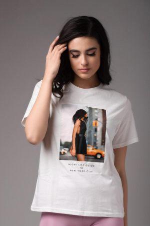 Λευκό γυναικείο t-shirt με στάμπα από τη συλλογή της Amelies