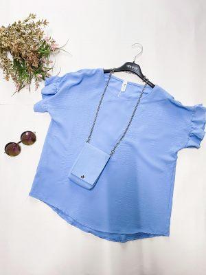 Γαλάζια γυναικεία μπλούζα με βολάν από την κολεξιόν της Amelies