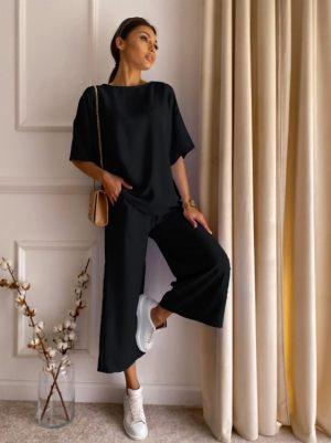 Μαύρο Γυναικείο Σετ Τοπ Με Παντελόνα