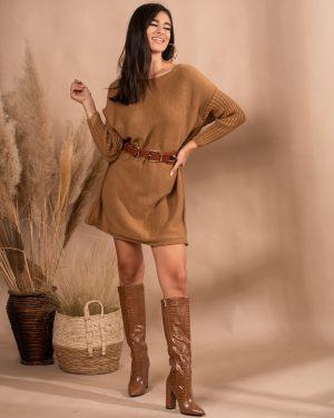 Καφέ πλεκτό φόρεμα από την κολεξιόν της Amelies