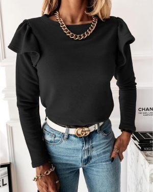Μαύρη γυναικεία μπλούζα με βολάν από τη συλλογή της Amelies