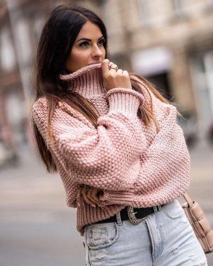 Ροζ γυναικεία πλεκτή μπλούζα από την κολεξιόν της Amelies