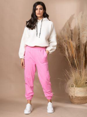 Ροζ γυναικείο παντελόνι με λάστιχο από τη συλλογή της Amelies