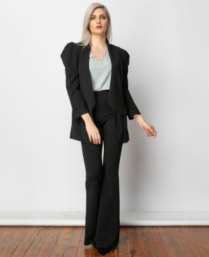 Μαύρο γυναικείο ψηλόμεσο παντελόνι από την κολεξιόν της Amelies