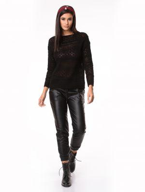 Μαύρο παντελόνι γυναικείο δερματίνης από τη συλλογή της Amelies