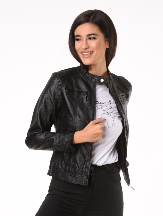 Faux Leather Jacket Oly Μαύρο