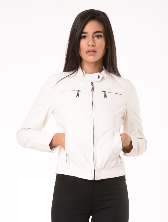Faux Leather Jacket Oly Λευκό